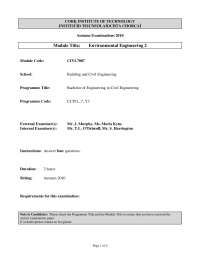 Thresholds - Environmental Engineering - Old Exam Paper