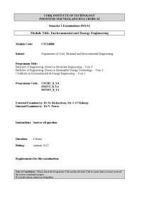 Transport Fuel Scenarios - Environmental Engineering - Old Exam Paper