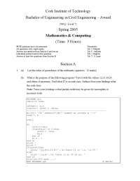 Order of Precedence - Mathematics - Old Exam Paper