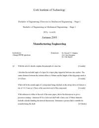 Sine Bar - Manufacturing Engineering - Exam