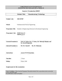 Shear Angle - Manufacturing Technology - Exam
