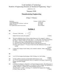 Chvorinov Rule - Manufacturing Engineering - Exam