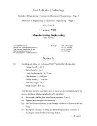 Thrust Force - Manufacturing Engineering - Exam