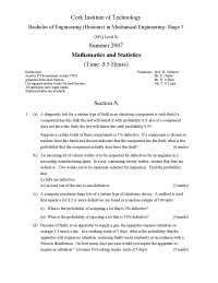 Brinell Hardness Values - Mathematics and Statistics - Exam