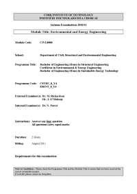 Monetary Value - Environmental and Energy Engineering - Exam