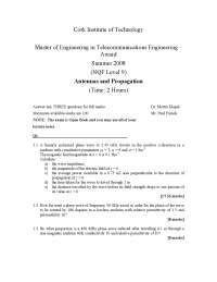 Wave Impedance - Antennas and Propagation - Exam
