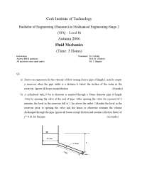 Abrupt Entry - Fluid and Heat Mechanics - Exam