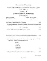 USER-DEFINED DATA TYPE - Computer Systems and Programming - Exam