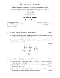 Kirchhoff's laws - Electrical Principles - Exam
