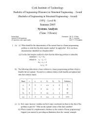 Dual Simplex Method - Systems Analysis - Old Exam Paper