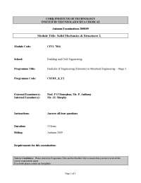 Cross-section of Column - Solid Mechanics and Structures - Old Exam Paper