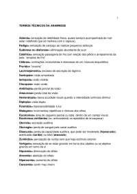 Termos técnicos da Anamnese - Apostilas - Medicina