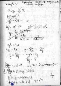 Wyznaczanie trajektorii ortogonalnych rodziny krzywych - Ćwiczenia - Analiza matematyczna 2