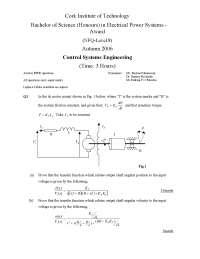 First Order System - Control Systems Engineering - Exam
