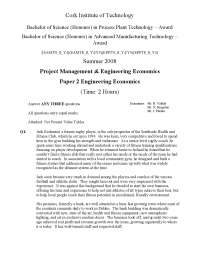 Presentation Mark - Project Management and Engineering Economics - Exam