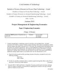 Small Tooling - Project Management and Engineering Economics - Exam