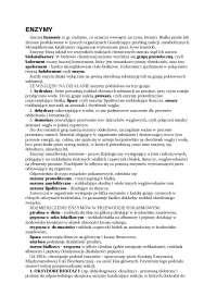 Enzymy - Notatki - Technologia żywności