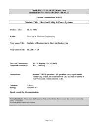 Armature Winding - Electrical Utility and Power Systems - Past Exam Paper