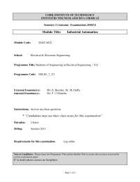 Duty Cycle - Industrial Automation - Past Exam Paper