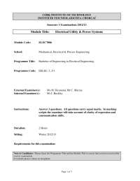 Basic Insulation Level - Electrical Utility and Power Systems - Past Exam Paper