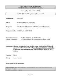 Pressurisation Unit - Building Services Processes- Exam