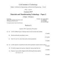 Block Diagram - Materials and Manufacturing Process - Exam