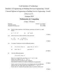 Circular Port - Mathematics and Computing - Exam