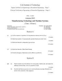 Emergency Maintenance - Manufacturing Technology - Exam