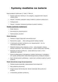 Systemy medialne na świecie - Notatki - Dziennikarstwo