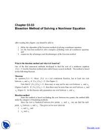 Bisection Method - Numerical Analysis - Solved Exam, Past Exams for Mathematical Methods for Numerical Analysis and Optimization