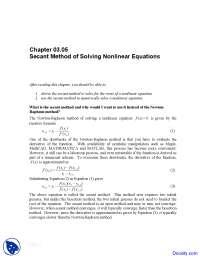 Secant Method - Numerical Analysis - Solved Exam