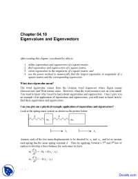 Eigenvalues and Eigenvectors - Numerical Analysis - Solved Exam