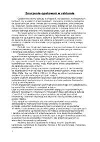 Znaczenie opakowań w reklamie - Notatki - Reklama