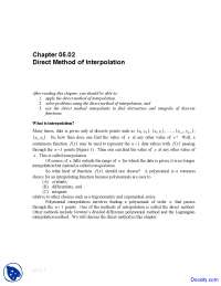 Direct Method of Interpolation - Numerical Analysis - Solved Exam