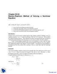 Newton-Raphson Method - Numerical Analysis - Solved Exam