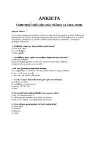 Ankieta reklama - Notatki - Reklama