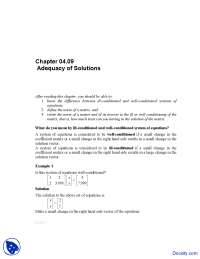Adequacy of Solutions - Numerical Analysis - Solved Exam