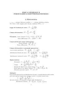 Appunti - Fisica Generale II - Formulario di Elettromagnetismo
