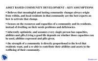 Key Assumptions - Community Development - Lecture Slides