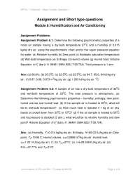 Humidification - Mass Transfer Operations - Lecture Notes