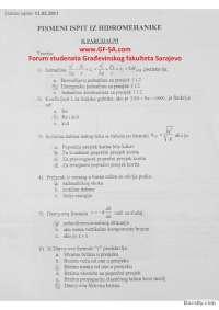 Hidromehanika - pismeni II parcijalni - 11.02.2011