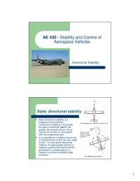 Directional Stability - Stability and Control of Aerospace Vehicles - Lecture Slides