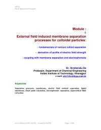 Colloidal Particles - Novel Separation Processes - Lecture Notes