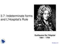 L'Hospital's Rule - Calculus I - Lecture Slides