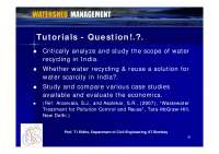 Water Recycling - Watershed Management - Tutorial Slides