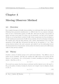 Moving Observer Method - Traffic Engineering and Management - Lecture Notes