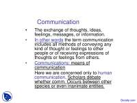 Communication - Media Studies - Lecture Slides