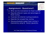 Channel Routing Procedure - Watershed Management - Lecture Slides