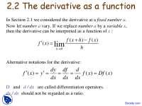 Derivative Function - Calculus I - Lecture Slides
