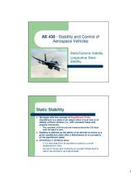 Longitudinal Static - Stability and Control of Aerospace Vehicles - Lecture Notess